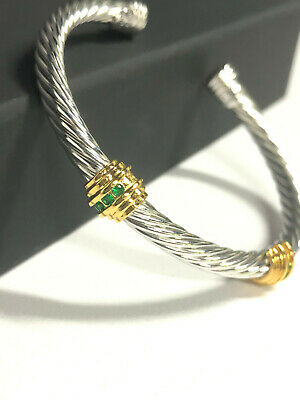 David Yurman Sterling Silver 5mm Cable Cuff MEDIUM Bracelet 14k Gold gemstone