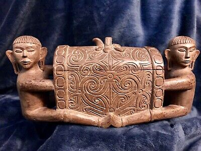 Vintage Figural Carved Wooden Folk Art Box Two Monks Trinkets Jewelry Treasures