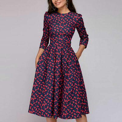 Women Autumn Dress Flower Printed 3/4 Sleeves Vintage A-line Knee-length Dress