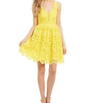 GB Women's Floral Lace Overlay Fit & Flare Sleeveless Dress, Yellow Size M