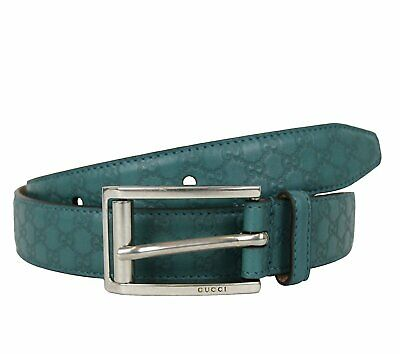 c82a95a5618 Gucci Men s Teal Leather Guccissima Metal Buckle Belt 281798 4715 (90   36)