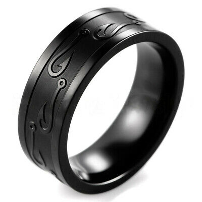 8mm Stainless Steel Tungsten Ring Man Band W/Carve Hook Up Pattern Size 13 Snop