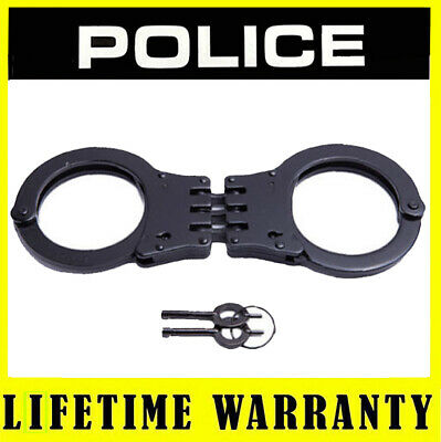 POLICE Professional Metal Steel Handcuffs Double Lock Hinged With Keys Black