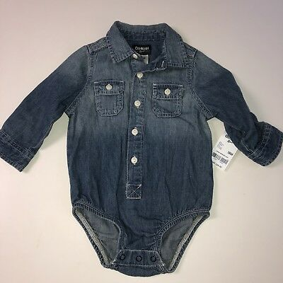 OshKosh Baby 18 Month Chambray Jean Denim Long Sleeve Collared Shirt Buttons New