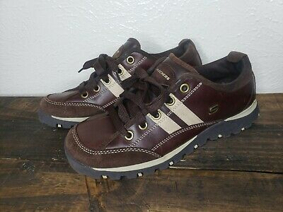 Skechers USA Womens 9 M Brown Beige Suede Leather Lace Up Sneakers Shoes 46077
