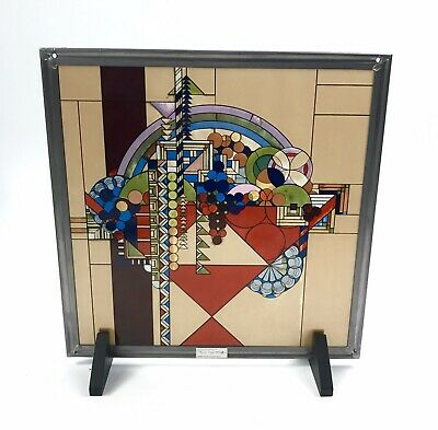 """Frank Lloyd Wright Stained Glass """"May Basket""""  11.75"""" x 11.75"""" w Stands, Chain"""