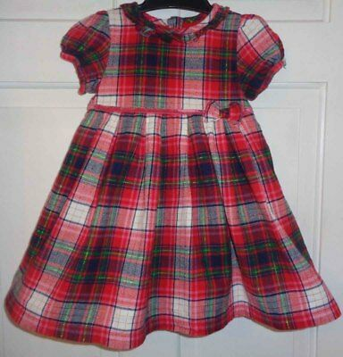 George Girls Pretty Red Tartan Party Dress - 12-18 Months CHRISTMAS