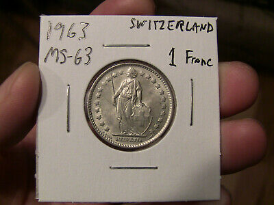 Uncirculated BU One Swiss Franc coin 1963 Switzerland
