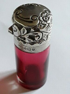 Edwardian Sterling Silver & Cranberry Glass Perfume Bottle Levi & Salaman...