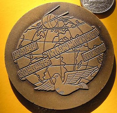 Pigeon and satellite on Hungarian news agency bronze medal ,MTI 1880-1980