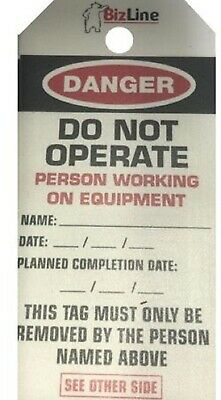 BizLine PERSON WORKING ON EQUIPMENT LOCKOUT TAGS 140x72mm 5-Pieces Laminated