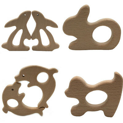 Baby Pacifier Ring Natural Wooden Teether Pendant Toy Wood Animal Chew Gift New