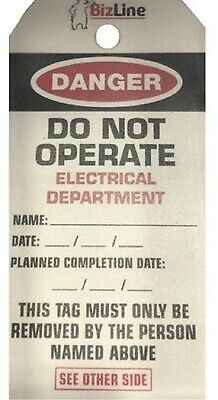 BizLine ELECTRICAL DEPARTMENT LOCKOUT TAGS BIZ730540 140x72mm 5-Pieces Laminated