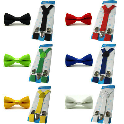 Kids Children Boys Pre-tied Bow Tie Elastic Suspender Brace Solid Bowtie Set