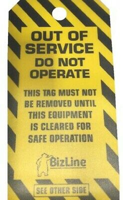 BizLine OUT OF SERVICE LOCKOUT TAGS BIZ730544 140x72mm 5-Pieces Laminated