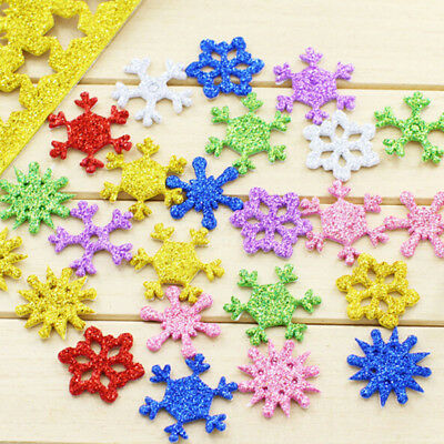 Diy thick snowflake sequin gold dust sponge foam paper with sticker for kids EB