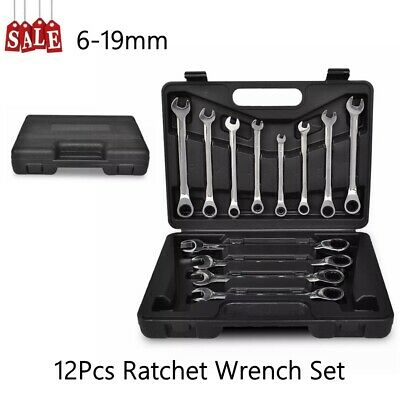 12Pcs Professional Combination Spanner Ratchet Wrench Set Garage Repair Tool