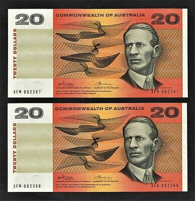 """COMMONWEALTH OF AUSTRALIA"" $20 NOTES PHILLIPS RANDALL CONSEC.PAIR g/EF.CAT $500"