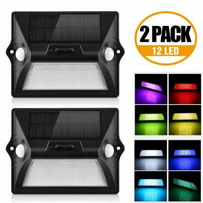 2x SOLAR POWER LED GARDEN FENCE LIGHTS WALL LIGHT PATIO OUTDOOR SECURITY LAMPS