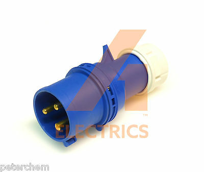 32A 3 pin plug 220 - 250V IP44 32 amp camper caravan 2P+E FAST FIT gland entry