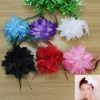 Feather Flower Bead Wrist Corsage Brooch Pin Hair Clip Bridal Fascinator QKT