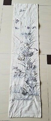 Antique Chinese Silk Hand Embroidered Panel 120x29cm (X985)