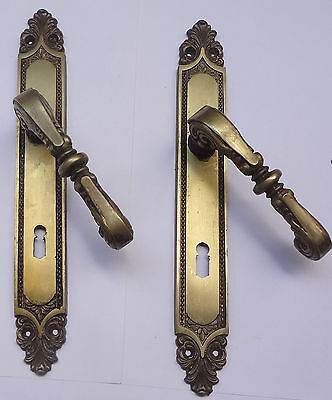 Vintage Pair Solid Brass Door Lever Handles Set + Backplates Free Shipping Lot 1