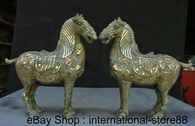 """11"""" Antique China Bronze Gilt Dynasty Palace Stand Tang Horse Steed Statue Pair"""