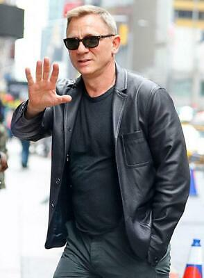 Daniel Craig Leather Blazer Replica Genuine Real Leather Jacket Coat New Men's