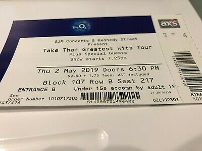 Take That: Greatest Hits Tour, 1 Ticket, LONDON The O2, Thursday, May 2nd