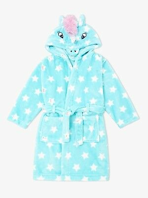 John Lewis & Partners Girls' Unicorn Robe Dressing Gown Aqua age 4