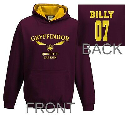 Harry Potter Hoodie Quidditch Hoodie Top Jumper Personalised Gryffindor