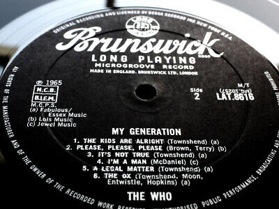 THE WHO MY GENERATION RARE EX MINT 1st Mono UK BRUNSWICK complete TOP AUDIO