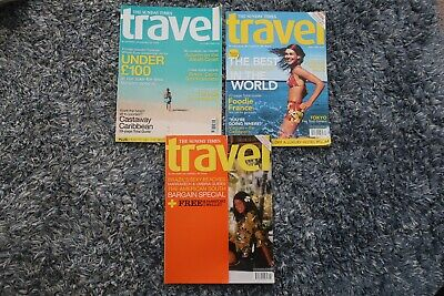 3 SUNDAY TIMES TRAVEL MAGAZINES Issues 39 40 57 JOB LOT