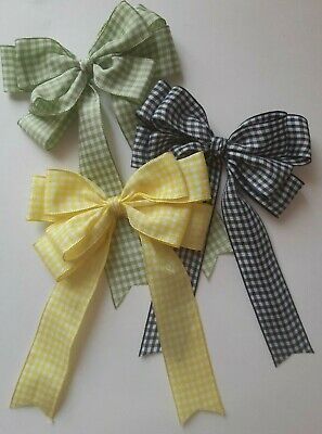 "Large 10cm, 4"" Double Gingham Bow In Yellow,  Navy Blue or Green Packs 2, 5, 10"