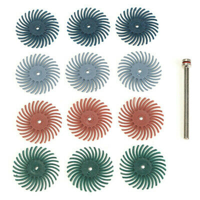12pcs 1/8 Inch Shank Bristle Brushes 80/120/220/400 Grit Disc Brushes
