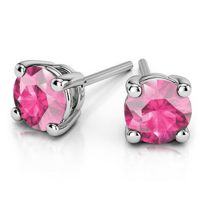 4.00 Ct Round Cut Natural Pink Sapphire Stud 14K  White Gold Screw Back Earrings