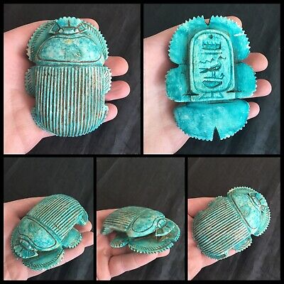 Rare ancient Egyptian large blue scarab beetle with hieroglyphics 300 bc