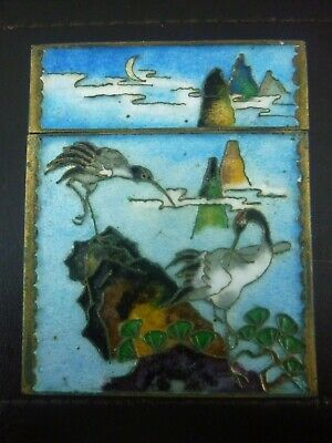 Japanese blue BOX With Cranes cloisonné vintage Victorian oriental antique box
