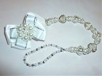 Gorgeous White Silver Diamante Heart Pearl Romany Crystal Bling Baby dummy clip