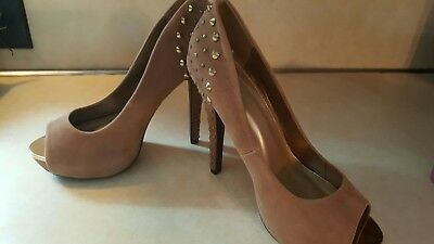 """758b08924bf2 Womens 5"""" Heels Taupe Faux Suede Pump Delicious studded Gold open Toe Size  6.5"""