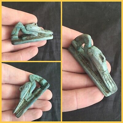 Rare ancient Egyptian blue faience bird amulet, 300 bc