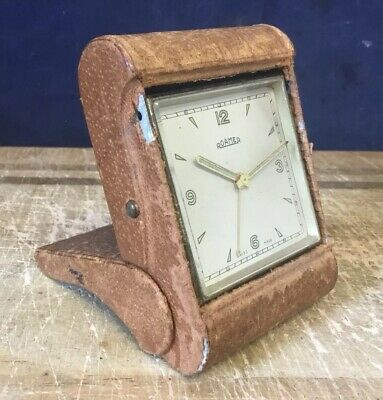 Vintage Swiss Made Roamer Foling Travel Clock Keeps Good Time