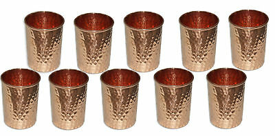 10 pcs Pure copper hammered Glass Healing Ayurvedic tableware accessories 9.5 cm