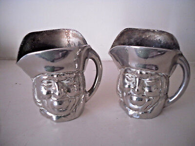 Vintage Collectable Matching Pair Of Old Silver Plated CHARACTER Toby Jugs 7 cm