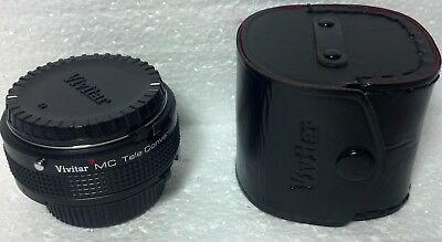 Vivitar MC Tele Converter 2X-5 w/Case Japan Used Front and back lens caps