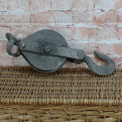 Vintage Salvage Reclaimed single Wheel Pulley Block and Hook