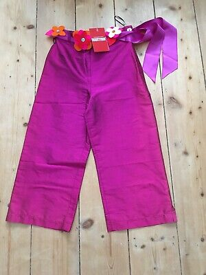 Girls trousers pink flower belt age 6 New with tags Tickittyboo summer silk