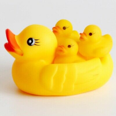 4Pcs Yellow Baby Kids Children Bath Toy Cute Rubber Race Squeaky Duck Ducky Hot