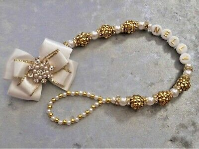 Gold Shamballa White Diamante Lux Personalised Crystal Bling Baby dummy clip